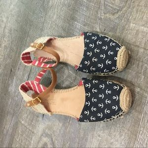 Sperry espadrille red blue flats ankle strap 8